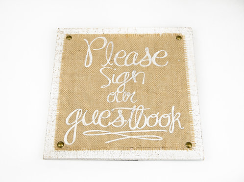 Burlap Guestbook Sign