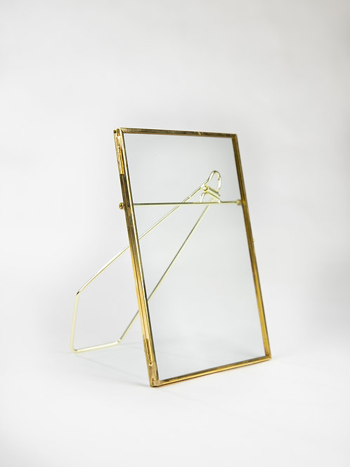Pressed glass floating gold frame