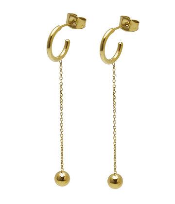 JAEDA Earrings long chain ball