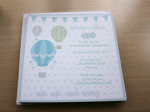 12 Hot Air Balloon Personalised Printed Invitation