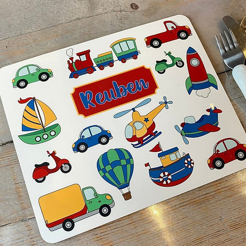 Kid's Personalised Transport Placemat / Coaster