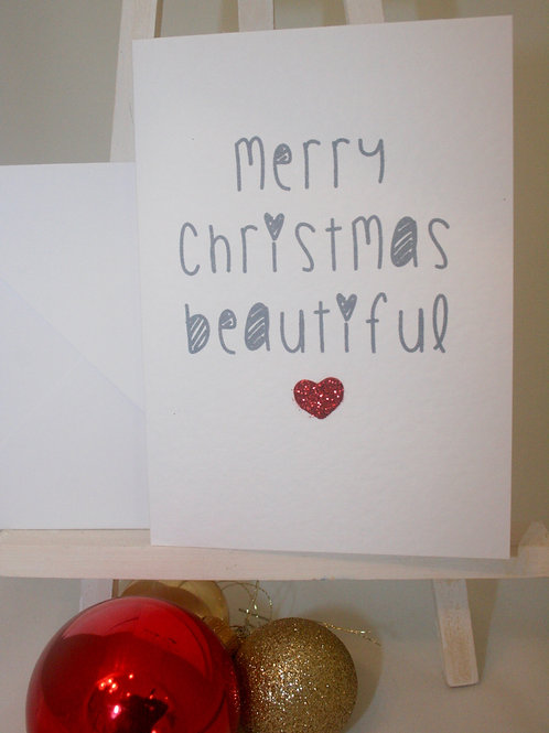 Sweet Hand Finished Single Christmas Card