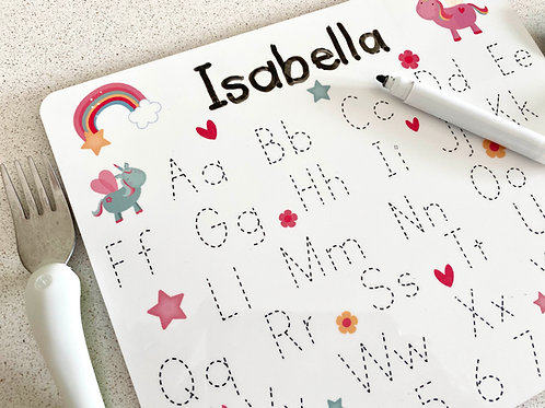 Personalised Unicorn Table Mat with Handwriting Practice