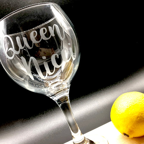 Etched Gin Balloon Glass