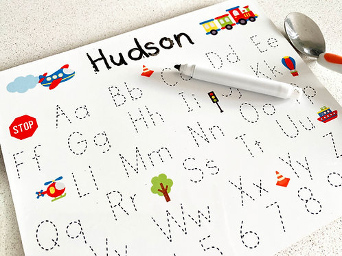 Personalised Transport Table Mat with Handwriting Practice