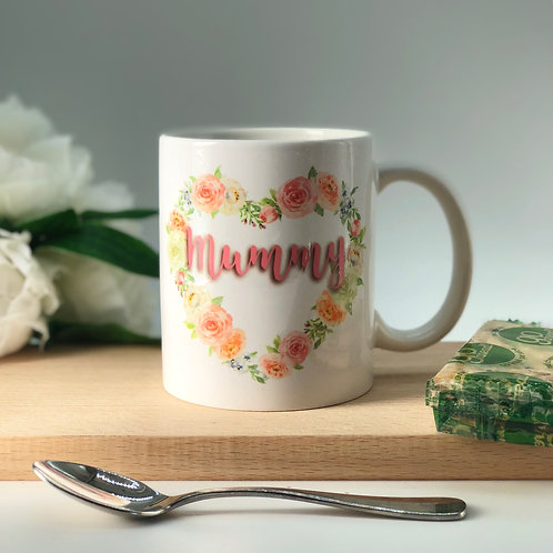 Personalised Floral Heart Mug