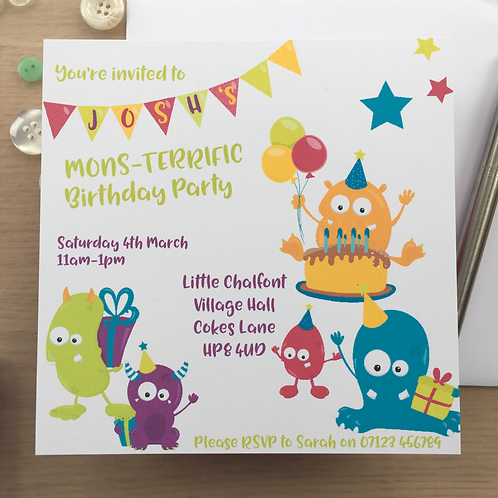 10 Cute Monster Personalised Party Invitations