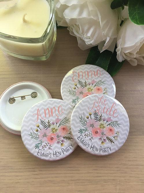 Grey & Blush Floral Hen Party Badges