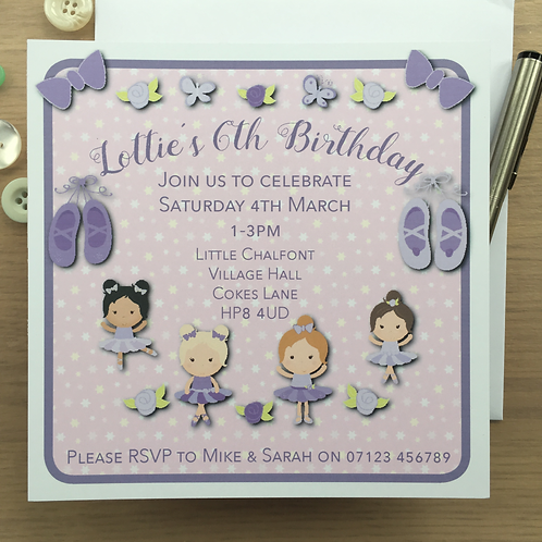 10 Personalised Ballerina Party Invitations