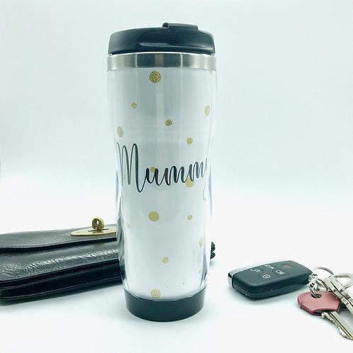 Gold Glitter Travel Coffee Mug