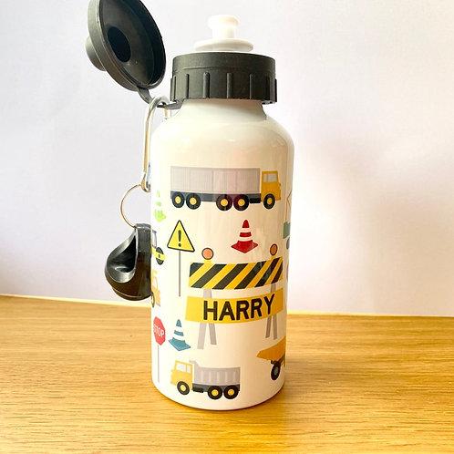 Personalised Digger Kids Water Bottle - Custom Personalised Name Steel Bottle