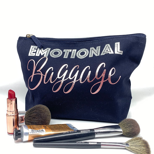 Emotional Baggage Makeup Bag - Cosmetic Bag with Pink & Silver Lettering