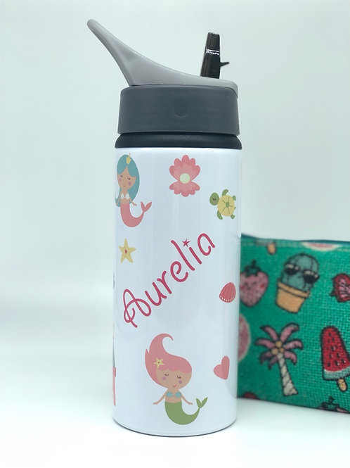 Mermaid Personalised Water Bottle with Straw