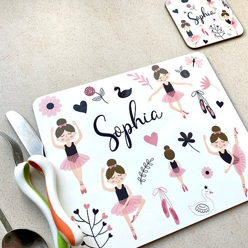 Kid's Personalised Ballet Placemat / Coaster