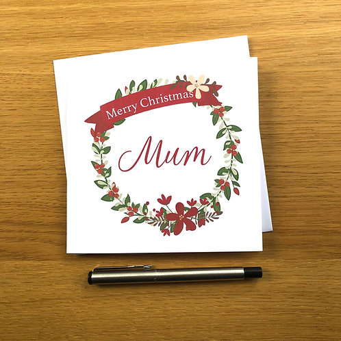 Red Wreath Christmas Card