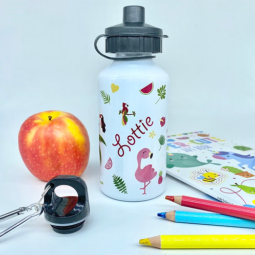 Personalised Tropical Kids Water Bottle with Flamingos - Custom Name Steel Sport
