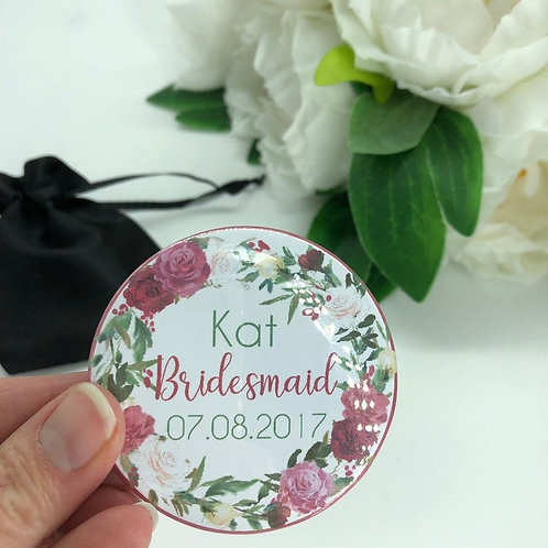 Pinky Red Floral Hen Party Badges