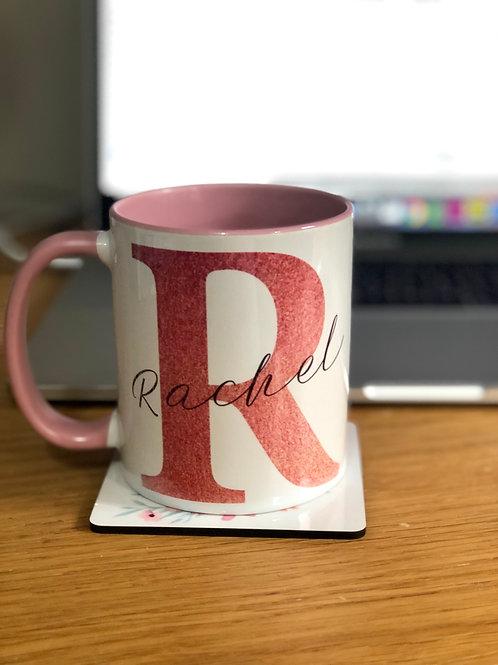 Rose Gold Glitter Monogram Mug