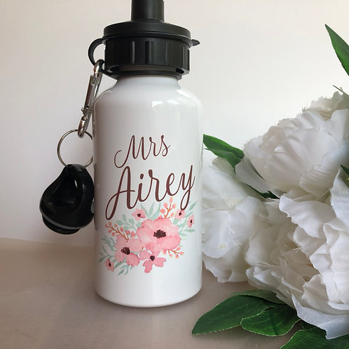 Personalised Floral Water Bottle