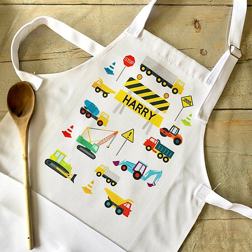 Children's Diggers / Trucks Apron Personalised with Name - Mixers, Diggers