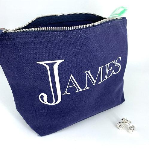 Mens Personalised Canvas Zip Bag