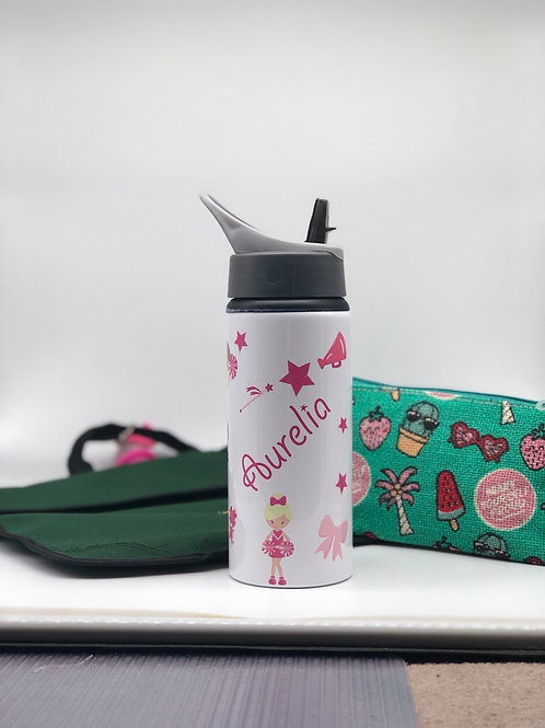 Cheerleader Personalised Water Bottle with Straw