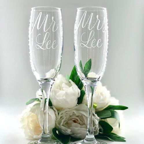 Personalised Mr & Mrs Flute Glasses