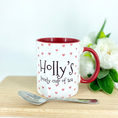 Red Heart Personalised Mug