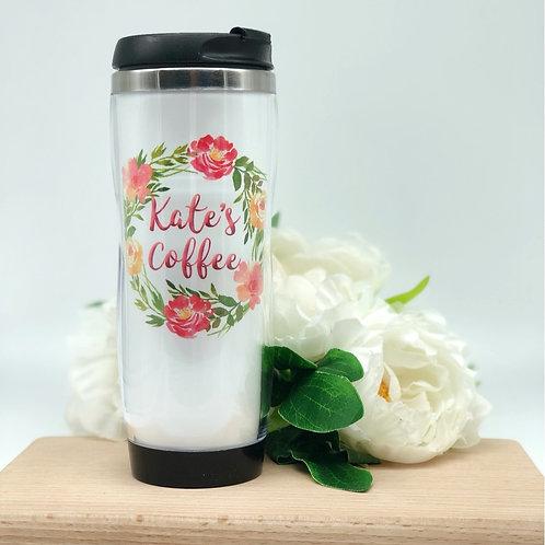 Personalised Floral Wreath Travel Coffee Mug