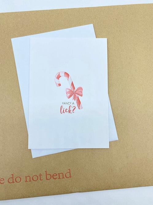 Cheeky Christmas Card - Fancy a Lick?