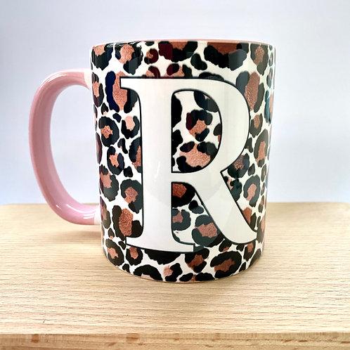 Rose Gold Leopard Print Initial Mug