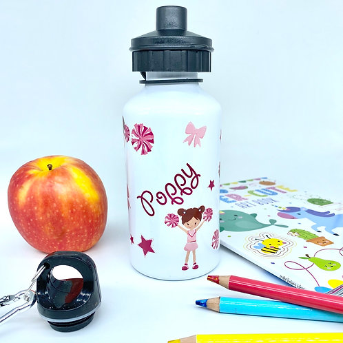 Personalised Cheerleader Kids Water Bottle - Custom Name Steel Sports Bottle wit