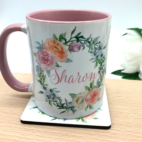 Personalised Pastel Floral Wreath Mug