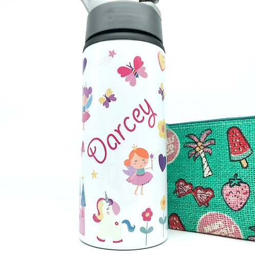 Fairy & Unicorn Water Bottle with Straw