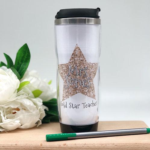 Gold Glitter Star Travel Coffee Mug