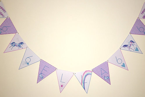 Unicorn Themed Party Bunting 3m
