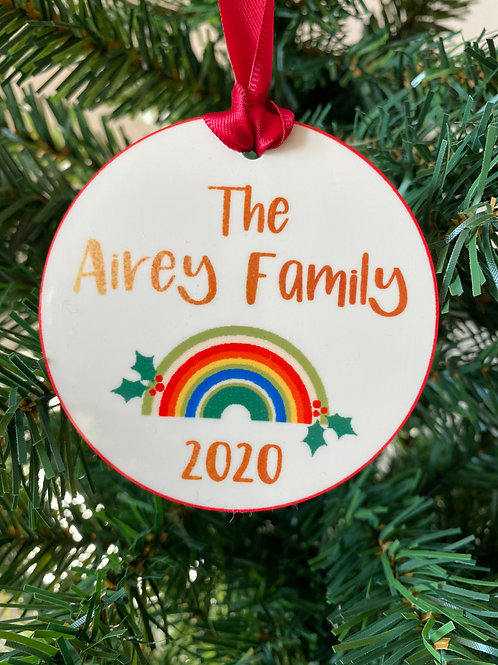 2020 Family Christmas Ornament with Rainbow Design