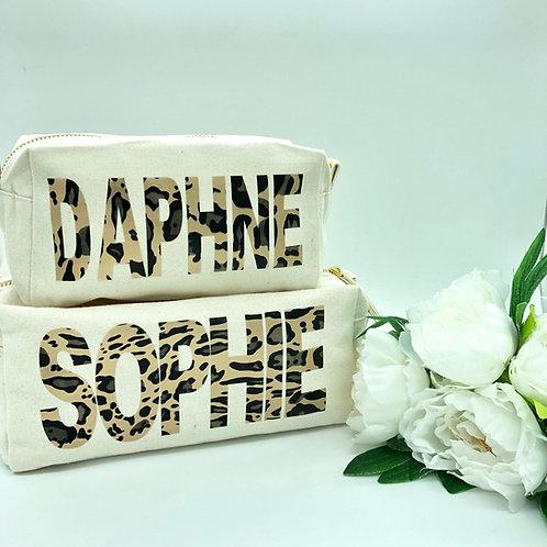 Personalised Leopard Print Makeup / Toiletry Bag