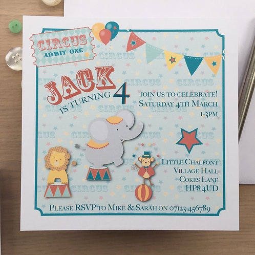 10 Personalised Circus Party Invitations