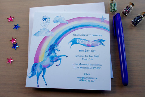 10 Personalised Unicorn Themed Party Invitations