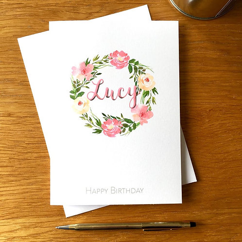 Floral Wreath Personalised Card