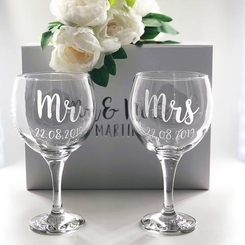 Personalised Mr & Mrs Gin Glasses