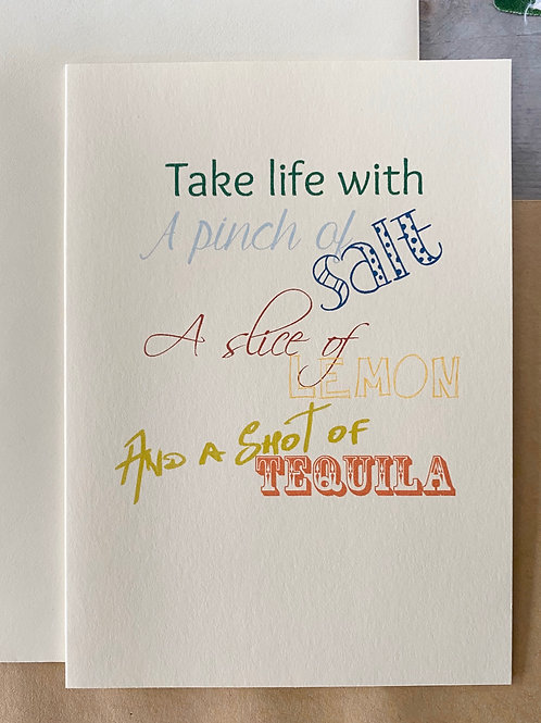 Take Life with a Pinch of Salt Tequila Card