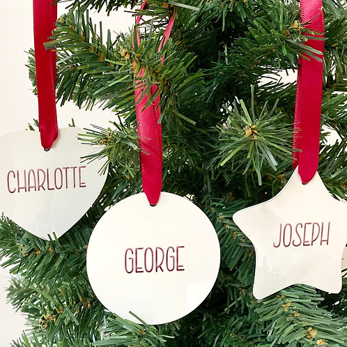 Personalised Christmas Ornament - Round - Star - Heart