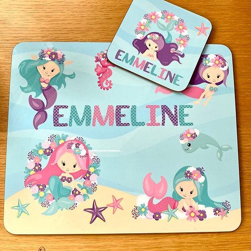 Kid's Personalised Mermaid Placemat / Coaster
