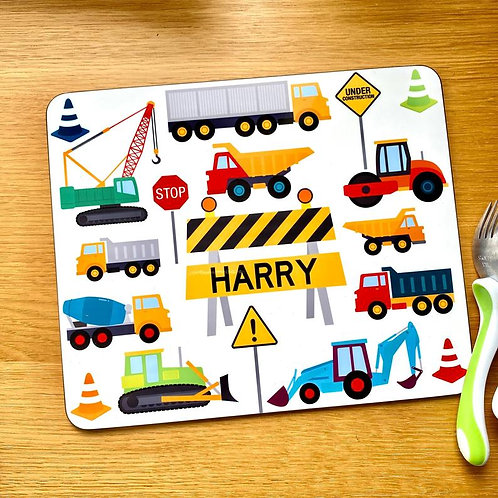 Kid's Diggers / Trucks Placemat with Name - Custom Construction Table Mat