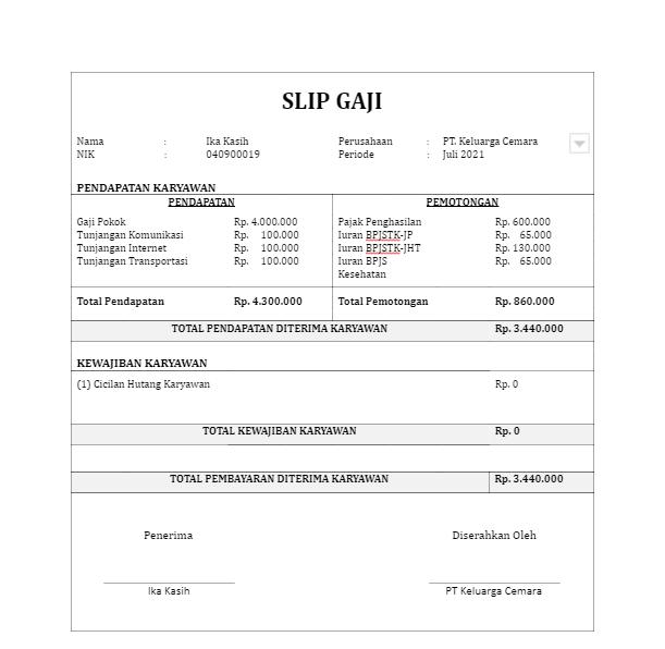 format slip gaji docx online pajak