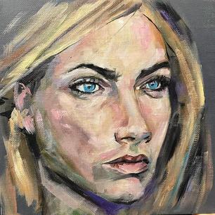 Sunday Funday Portrait Painting. Blue ey