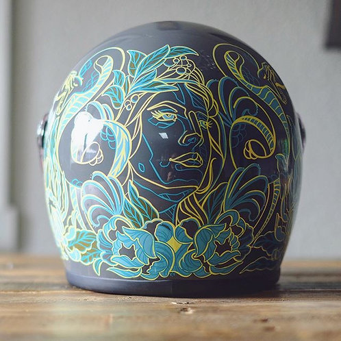 Snakes, Flowers and Pretty Women - Custom Biltwell Helmet