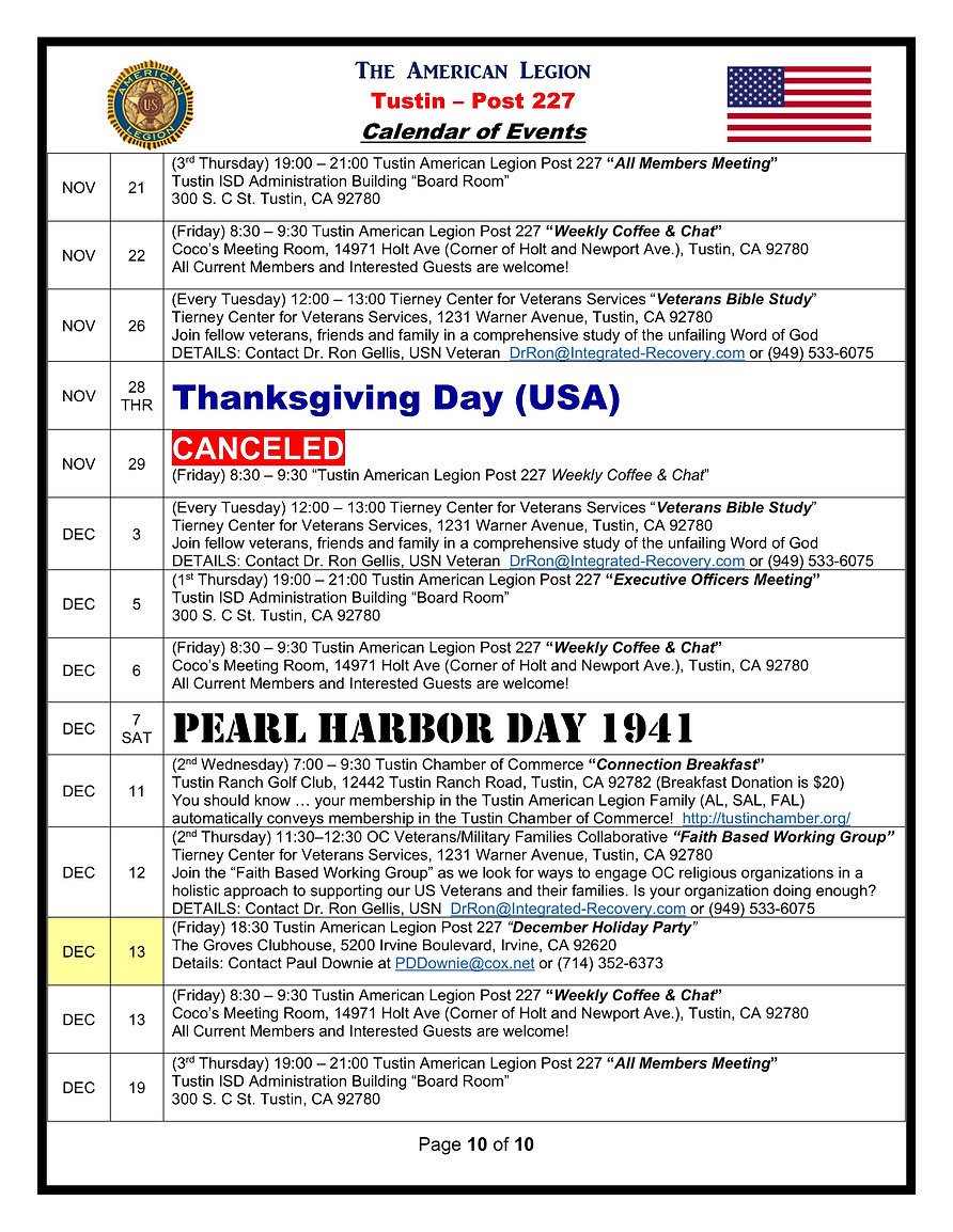 10American Legion 227 Calendar of Events